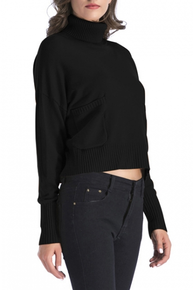 Plain Sleeve Turtleneck Simple Long Pullover with Pocket Sweater fdqnS8