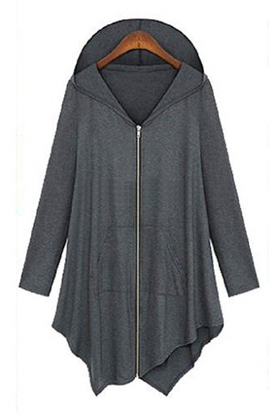 Simple Plain Long Sleeve Zip Up Asymmetric Hem Tunic Hoodie