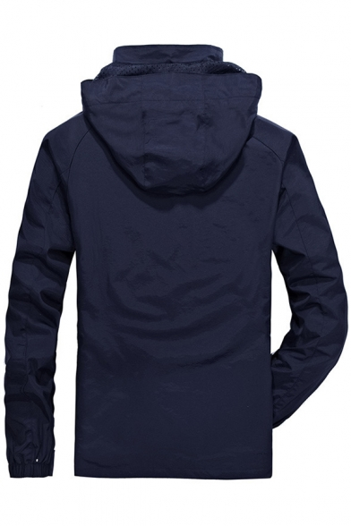 Simple Plain Long Sleeve Zipper Hooded Windproof Jacket