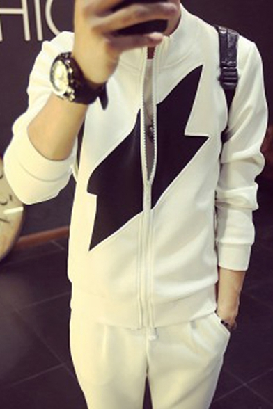 Simple Ribbon Pattern Color Block Long Sleeves Zippered Men's Jacket
