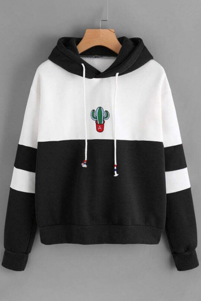 Block Cactus Pullover Sleeves Drawstring with Color Pattern Long Hoodie Stylish Ea1S5qwY