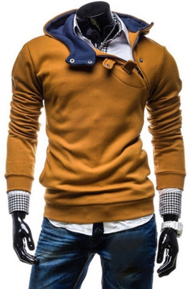 Stylish Zipper-Front Long Sleeves Pullover Slim-Fit Hoodie with Buttons