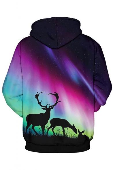 Trendy Deer Aurora Galaxy Ombre Pattern Long Sleeves Pullover Hoodie with Pocket