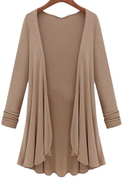Trendy Open Front Pleated Draped Long Sleeves Asymmetrical Hem Longline Cardigan