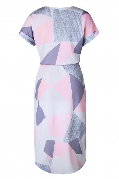 Women's Color Block V-Neck Short Sleeve Pencil Mini Dress