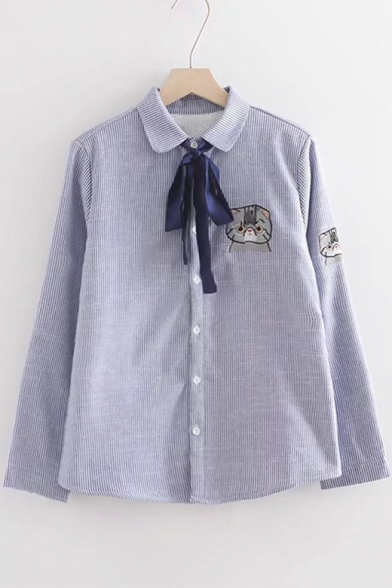 Cat Embroidered Striped Lapel Bow Front Long Sleeve Buttons Down Shirt