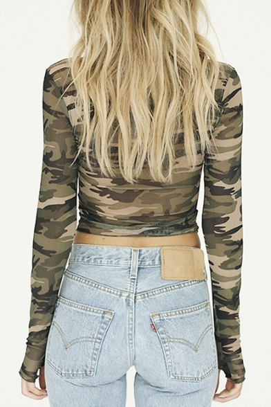 Chic Sleeve Neck Long Print Cropped Camouflage Tee Fitted Slim Round 4q1tr4T