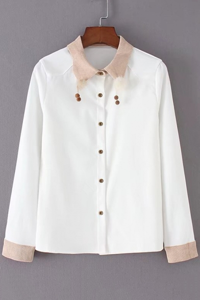Point Embellished Pompom Collar Sleeves Long Button Down Shirt Elegant OwagqFa