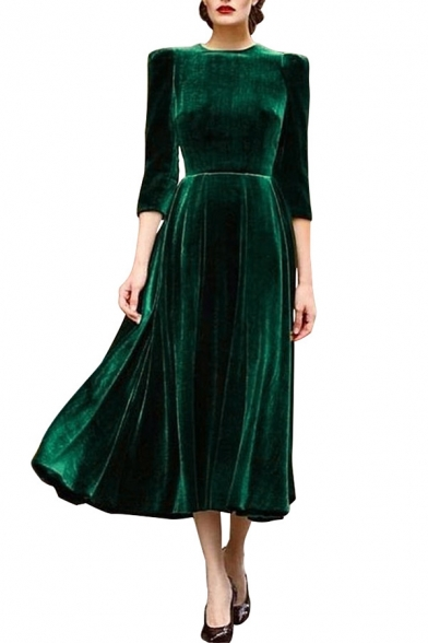 Elegant Round Neck 3/4 Sleeves Plain Pleated Midi Velvet Dress with Padded Shoulders