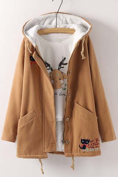 Embroidery Cute Cat Letter Pattern Long Sleeve Hooded Tunic Coat