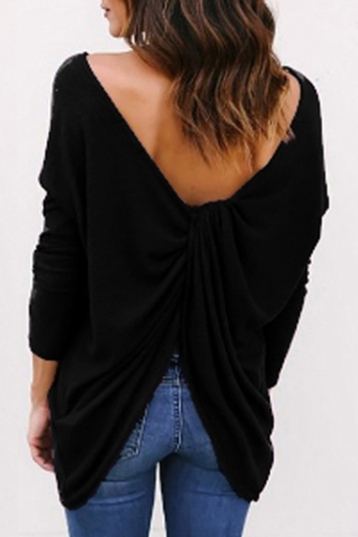 Fashion Tee Back Plain Open Sleeve Simple Tunic Long rxrHp4w0q