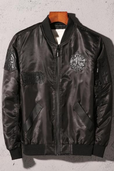 Fashion Print Long sleeve Stand-Up Collar Zipper Bomber Jacket