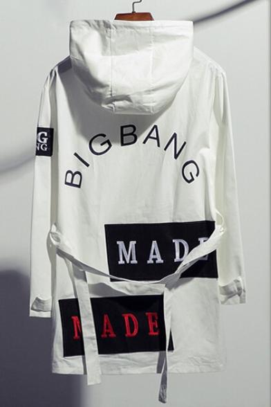 Tunic Print Sleeve Long Windproof Fashionable Letter Hooded Coat w5XqpOC