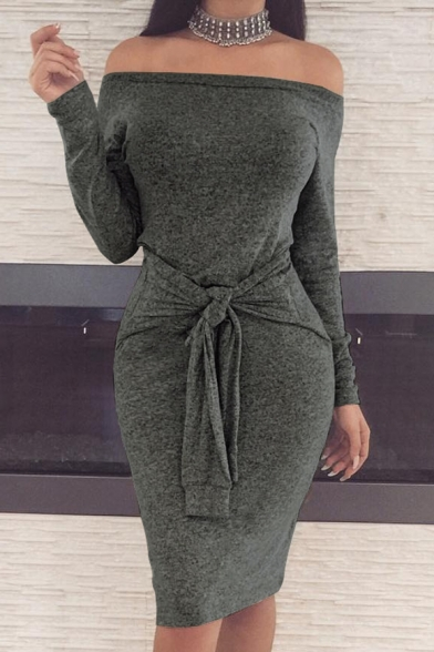 Ladylike Off the Shoulder Long Sleeves Bodycon Bow Belted Pencil Midi Dress