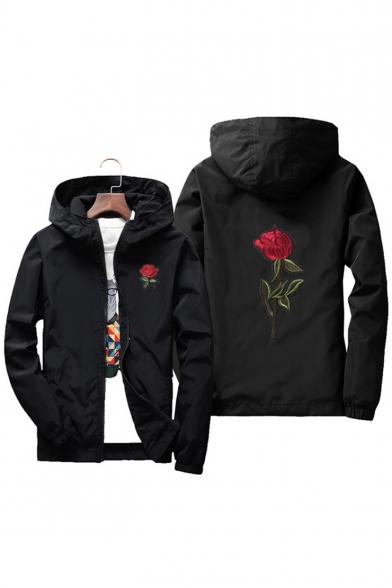 Leisure Embroidery Rose Pattern Long Sleeve Zipper Windproof Coat
