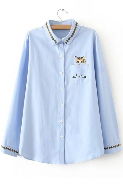 Leisure Lapel Button Down Cat Embroidery Long Sleeve Loose Shirt