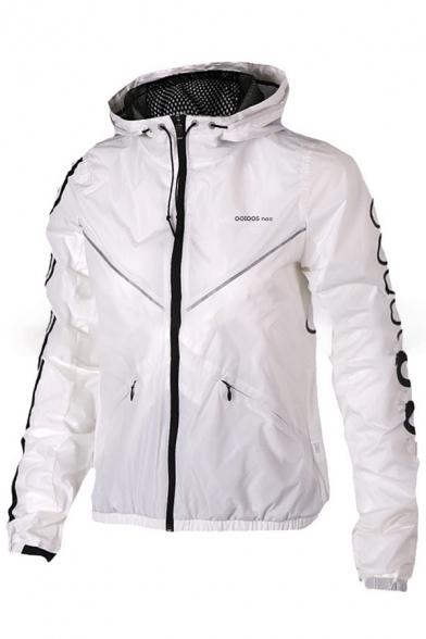 Leisure Long Sleeve Zip Up Letter Print Hooded Windproof Coat