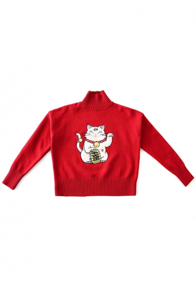Pattern Sleeve Neck Sweater Long High Cat Casual Girls' Lovely 5w6qxzX7n