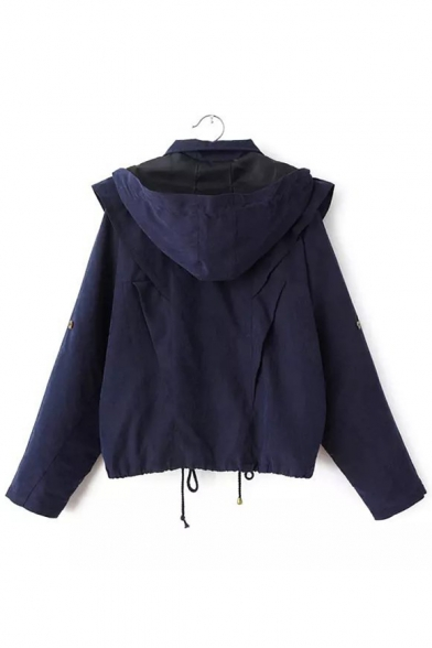 Sleeves with Long Hooded Trench Pockets Natural Waist Drawstring Loose Zippered Coat f5xSdqzSw