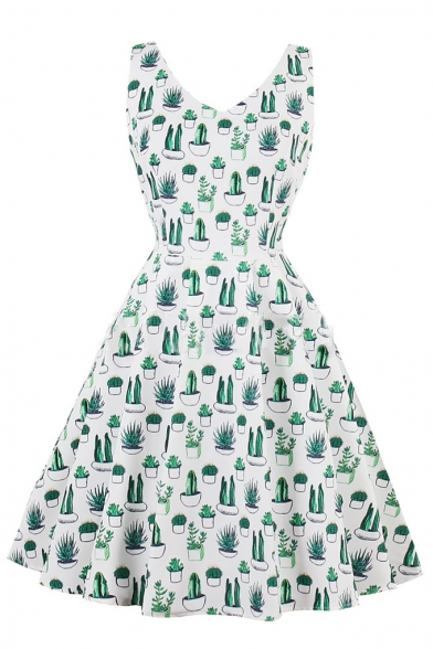 New Fashion Cactus Plant Print V-Neck Sleeveless Fit & Flare Mini Dress