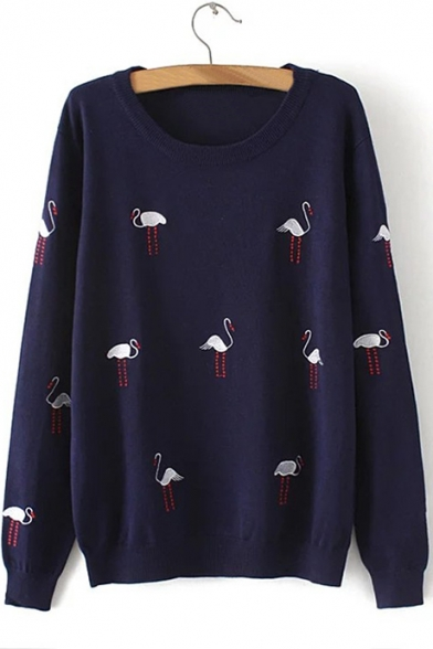 Loose Pullover Sweater New Round Swan Embroidered Sleeve Stylish Long Neck n88Rz04xW
