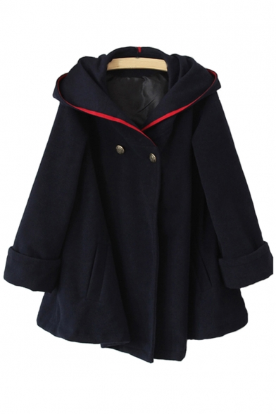 New Stylish Two Button Long Sleeve Hooded Coat