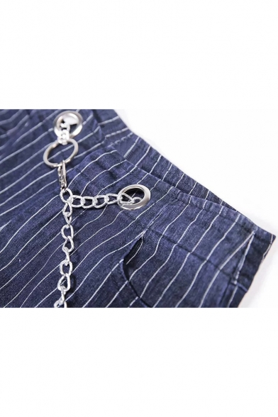 New Trendy Skinny Cropped Jeans with Chain