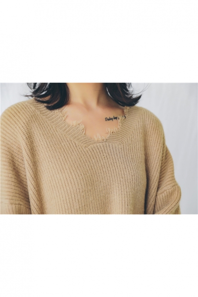New Pullover Sweater Neck Simple V Plain Tassel Sleeve Long Trendy rTgnqw81r