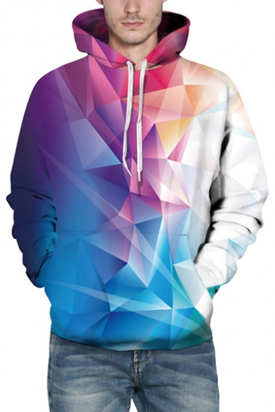 Ombre Geometric Pattern Color Block Long Sleeves Pullover Hoodie with Pocket