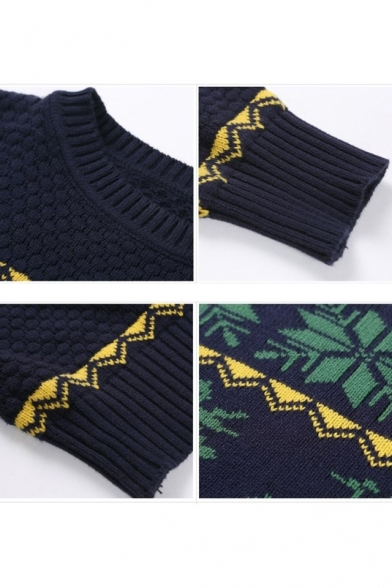 8eb0ef876d1e81 ... Popular Deer Snowflake Geometric Pattern Diamond Honeycomb Knitted  Pullover Sweater