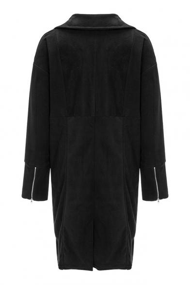 Popular Coat Zipper Notched Lapel Leisure Button Open Plain Front Sleeve Single fq4rfRn