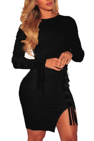 Mini Bodycon Side Split Long Dress Fashion Sexy Crisscross Sleeve PaTwYW0q