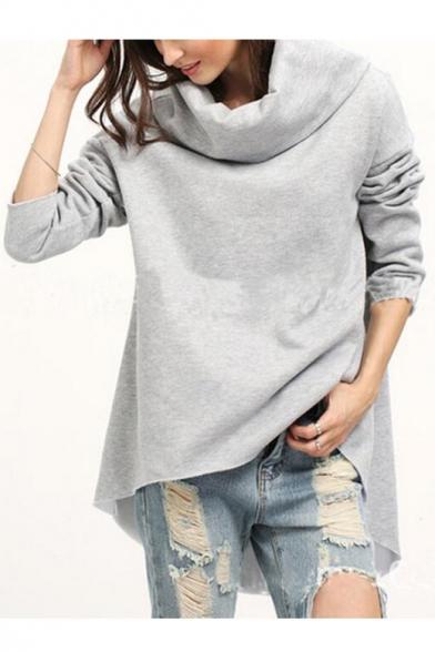 Simple Plain Long Sleeve Turtleneck Asymmetric Hem Pullover Sweatshirt