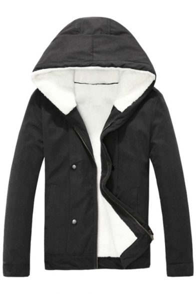 Simple Plain Men's Fashion Long Sleeves Zippered Jacket with Pockets & Buttons
