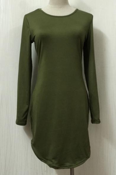 Simple Round Neck Long Sleeves Plain Mini Bodycon Tulip Tee Dress