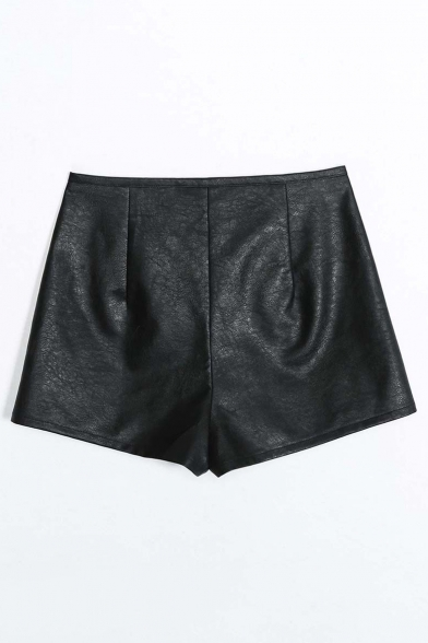Simple Zip Fly PU Plain Hot Pants