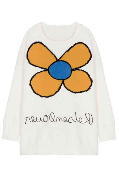 Stylish Floral Applique Round Neck Long Sleeve Comfortable Sweater