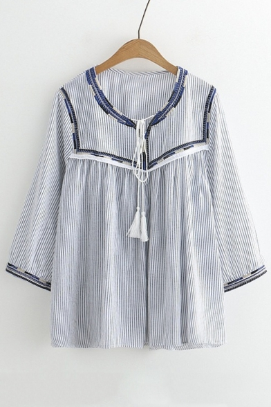 Stylish Stripe Drawstring Neck Contrast Hem Long Sleeve Smock Blouse