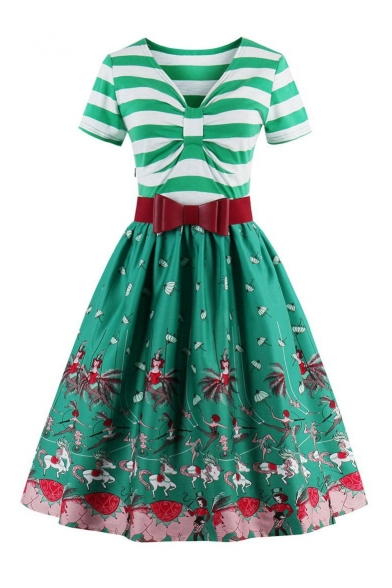 Summer Bow V Neck Short Sleeves Belted Circus Elephant Horse Pattern Striped Flared Midi Dress