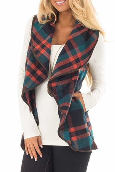 Open Plaid Waterfall Front Sleeveless Women's Vest xYqwaEZ7