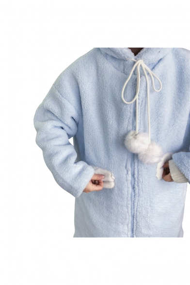 Adorable Long Sleeves Fluffy Faux Fur Zip-up Coat with Rabbit Ears Hood