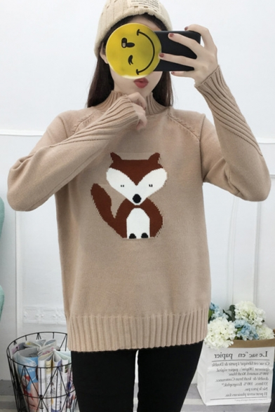 7451b20055819 ... Chic Fox Applique Pattern High Neck Long Sleeve Casual Pullover Sweater  ...