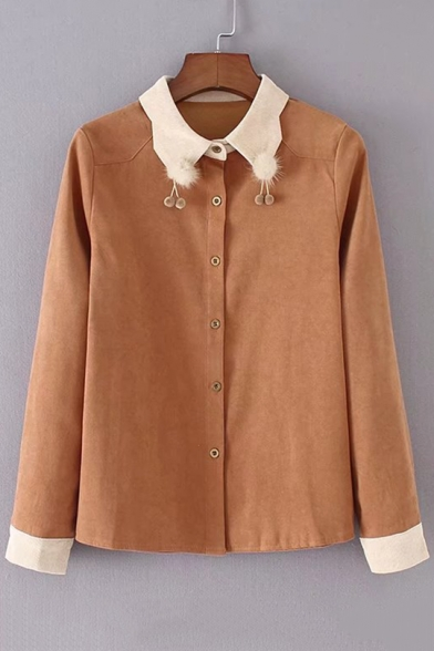 Elegant Point Collar Pompom Embellished Button Down Long Sleeves Shirt