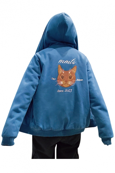 Coat Cat Long Zipper for Hooded Fashion Letter Sleeve Couple Print 6500wq