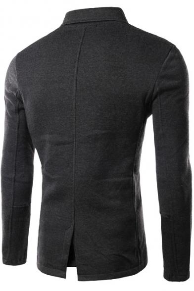 Fashionable Long Sleeve Stand-Up Split Back Slim-Fit Jacket