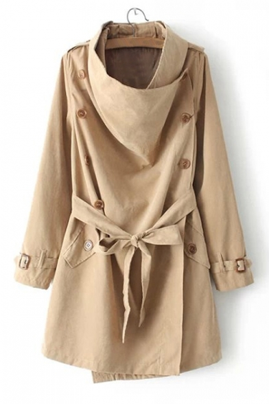 Military Style Single-Breasted Long Sleeves Bow Belted Detachable Collar Trench Coat with Pockets