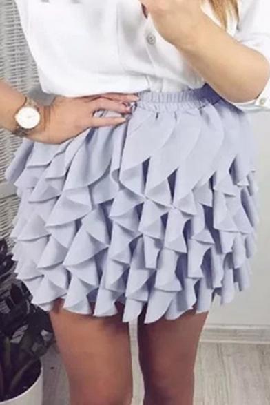 New Stylish Elastic Waist Simple Plain Layered Skirt