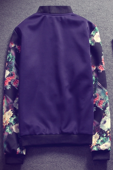 Peasant Style Floral Pattern Long Sleeves Zippered Quilted Men's Baseball Jacket