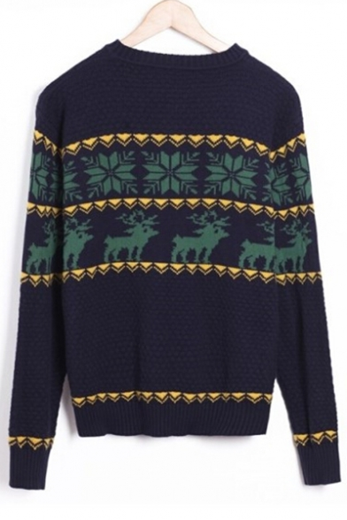 Popular Honeycomb Sweater Pattern Deer Snowflake Geometric Pullover Knitted Diamond Sq6rSOH