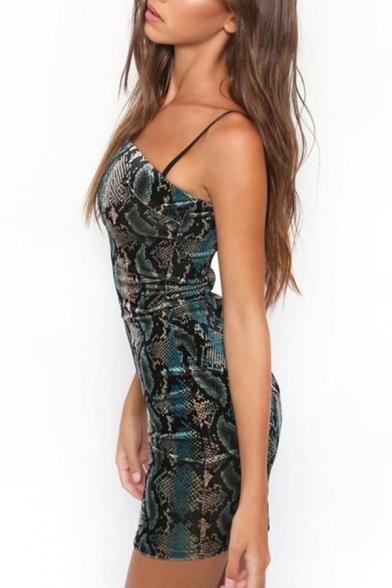 Sexy Snake Pattern Skinny Slip Mini Dress